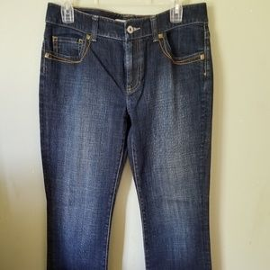 Chico's Size 1  blue Jean's Gold Leather design